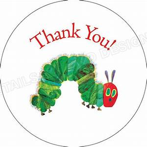 Hungry Caterpillar - Thank You - 2 U0026quot  Round Sticker Labels