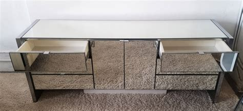 Mirror Credenza by Mid Century Modern Chrome And Mirrored Credenza By Ello