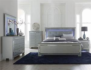 Homelegance Allura Bedroom Set With LED Lighting Silver