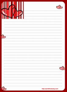 Free printable valentine stationery for Letter writing notepad