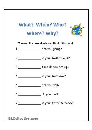 wh questions  images wh questions worksheets wh