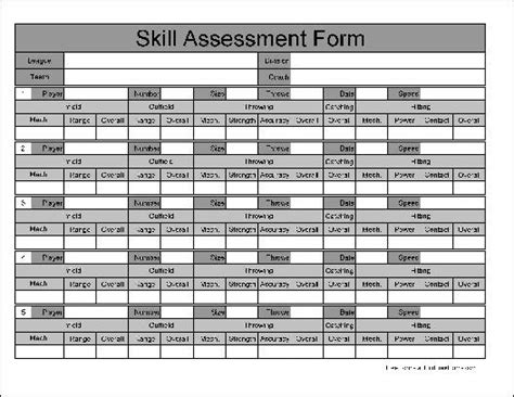 wide numbered row skill assessment
