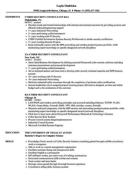 Cyber Security Resume by Consultant Cyber Security Resume Sles Velvet