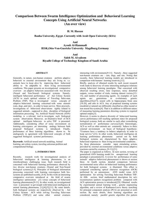 (PDF) Comparison Between Swarm Intelligence Optimization