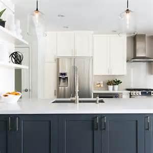 White Cabinets With Black Hardware by Navy Blue Kitchen Island Design Ideas