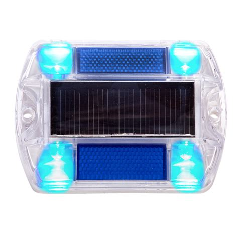 16 pack blue polycarbonate solar powered road path deck