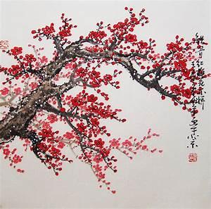 Original painting chinese art -Lovely cherry blossom tree ...