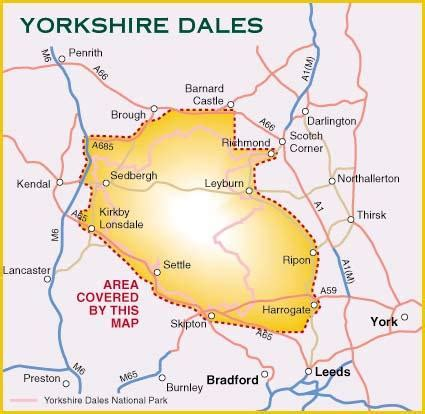 yorkshire dales england  cyclists harvey maps map