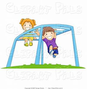 Pal Clipart of Children Playing on Monkey Bars at a ...