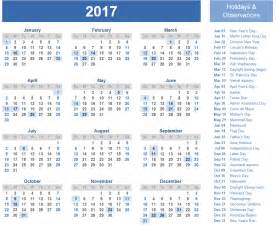 2017 Us Calendar with Holidays Printable