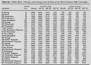 Ballistic Table Of Common Calibers Table 36 2 Bullet