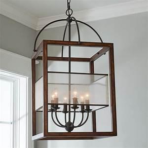 Square, Wood, Frame, Sheer, Shade, Lantern, -, 6, Light