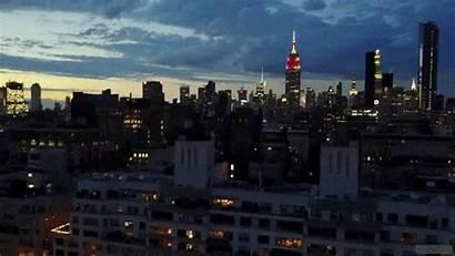 York Skyline Manhattan Gifs Dusk Above Animated