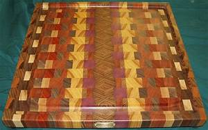 Handmade Exotic Woods End-Grain Cutting Board / Platter by