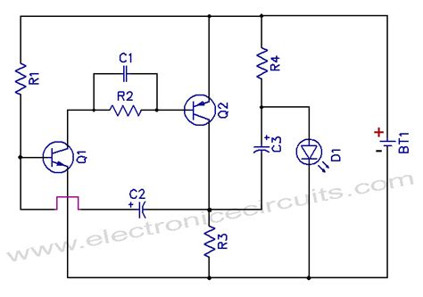 One Battery Led Light Flasher Circuit Diagram