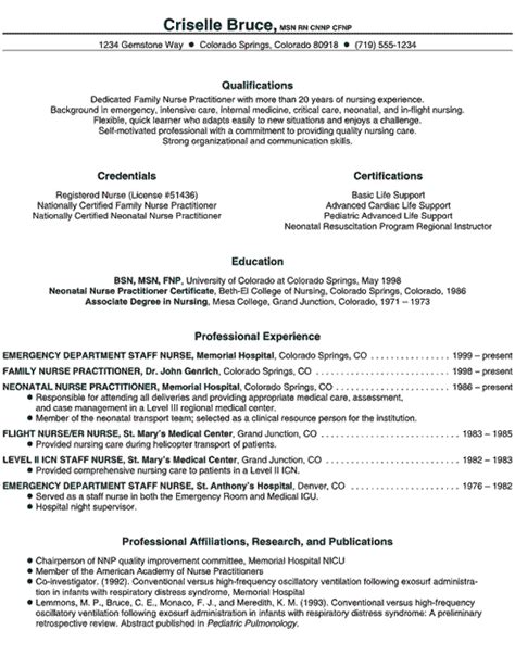 nurse practitioner resume