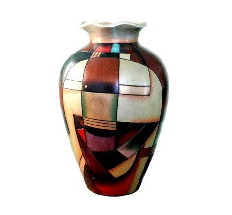 abstract art vase pottery  alexander kalifano painted
