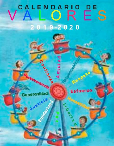 estupendo calendario de valores material educativo
