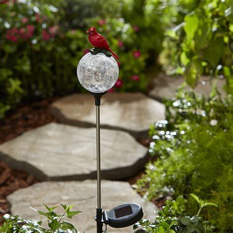 essential garden bird solar crackle glass stakes cardinal