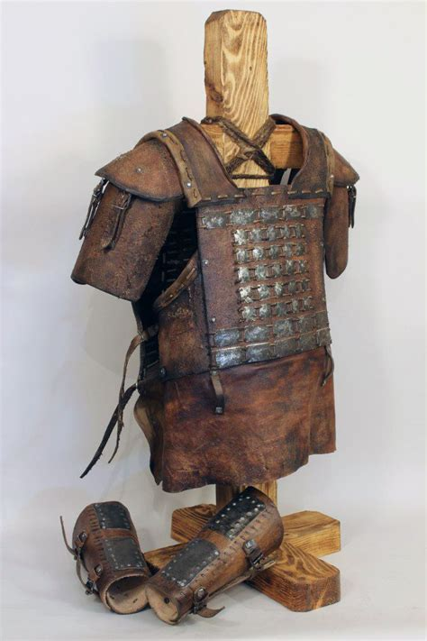 viking leather cuirass  pauldrons artificial aging