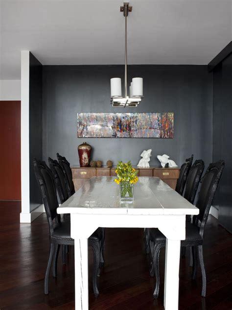 black dining room  white farmhouse table hgtv