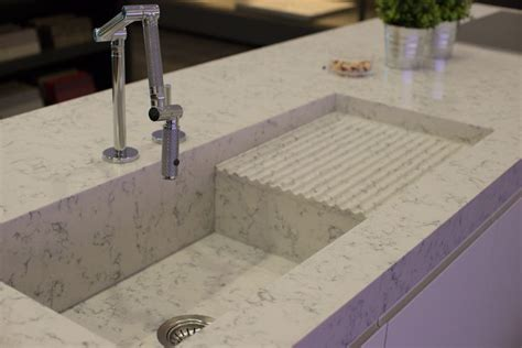 quartz countertop with integrated sink fabulous integrated sink from silestone and kohler karbon
