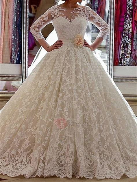 length sleeve lace ball gown wedding dress tidebuycom