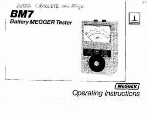 Megger Bm15 Mj15 Insulation Testers User Guide Service