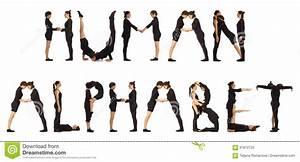 Black Dressed People Forming Word Human Alphabet Stock ...