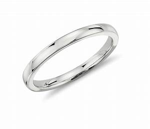 low dome comfort fit wedding ring in 14k white gold 2mm With comfort fit wedding rings