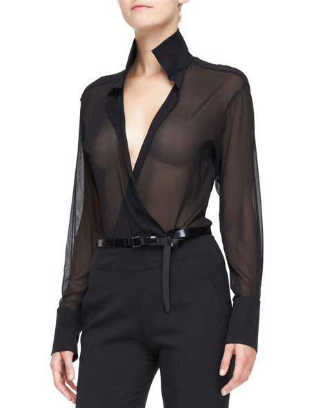 sheer black blouse donna karan sheer sleeve blouse with collar in black