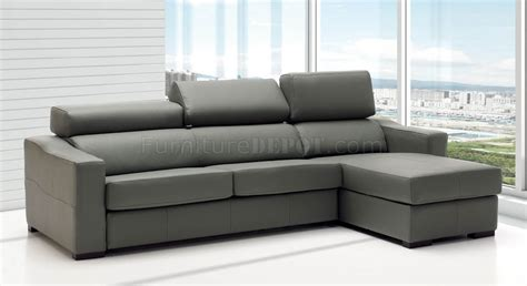 Lucas Sectional Sofa In Grey Full Leather By Esf W/sleeper