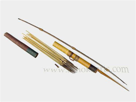 Indonesian or Philippine Bamboo bow, arrows and arrow case ...
