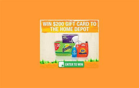 home depot sweepstakes p g home depot sweepstakes us only