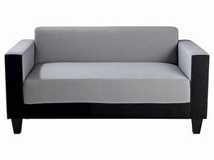 Canapé fixe 2 places en tissu SCALP 4 coloris noir/gris Vente de Canapé droit Conforama