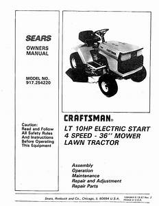 Craftsman 917254220 User Manual 36 Riding Lawn Tractor