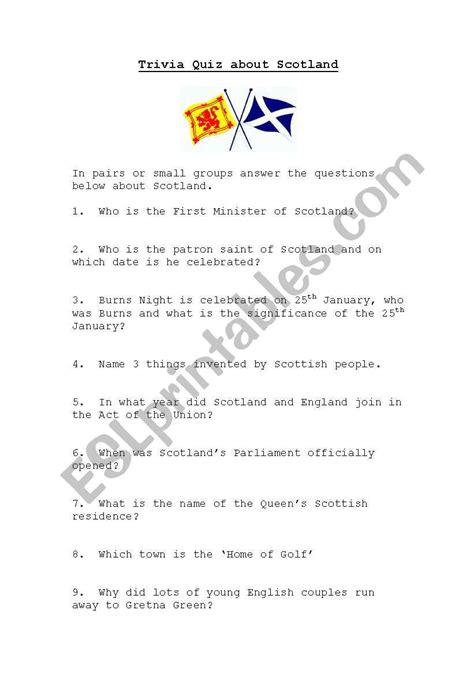 scotland quiz esl worksheet  kaz