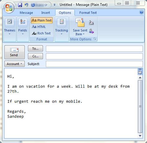 out of office email template set up auto replies in ms outlook to emulate out of office behavior