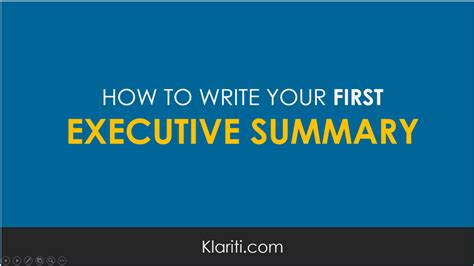 how to write your executive summary