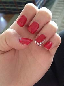 Got red nails for prom. Jems and sparkles were added ...
