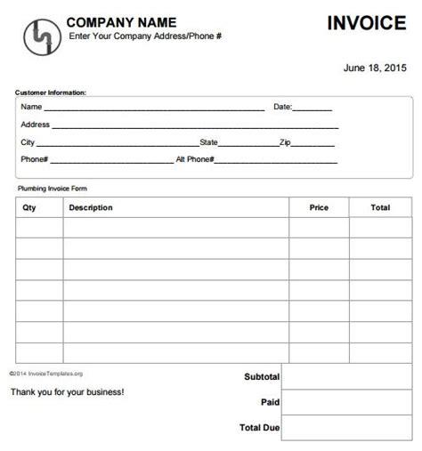plumbing invoice template   invoice sample invoice