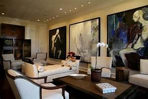 Modern Art Collector's Living Room - Transitional - Living