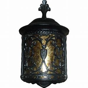 Spanish revival porch light fixture with mica panel