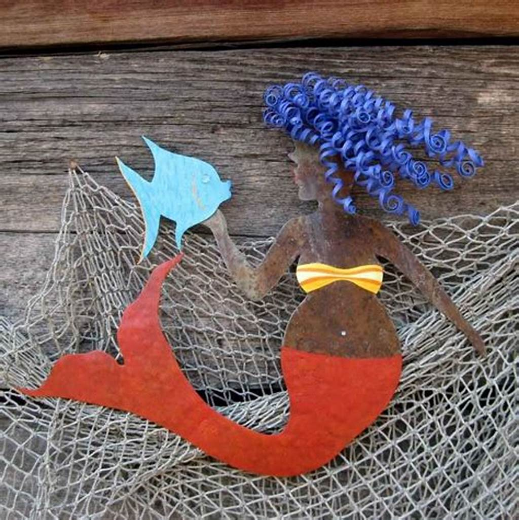 #Hand #Crafted #Handmade #Upcycled #Metal #Mermaid #With #Fish