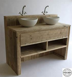 meuble salle de bain pays bois avec clapet meubles salle With meuble de salle de bain original