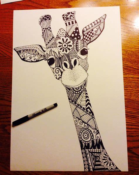 giraffe zentangle sharpie art artist liz leonard art