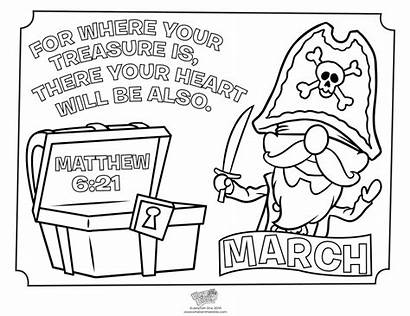 Coloring Pages Treasure March Matthew Bible Sunday