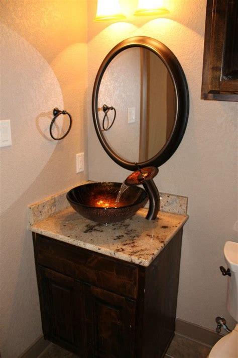 copper glass bowl sink brown marble vanity dark wooden