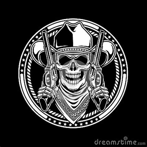 cowboy skull hold guns stock vector image
