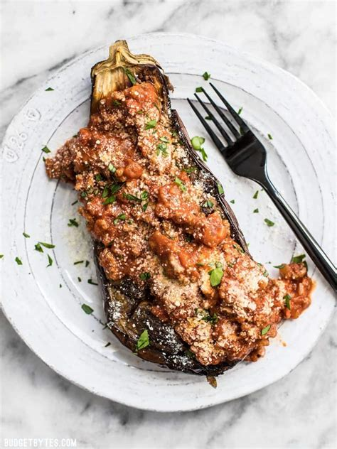 Roasted Eggplant With Meat Sauce  Budget Bytes